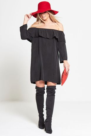Black Faux Suede Frill Bardot Dress