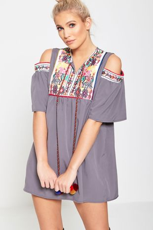 Grey Embroidered Cold Shoulder Mini Dress