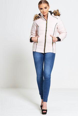 Light Pink Fur Lined Hood Puffer Jacket