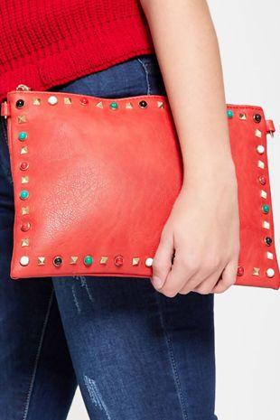 Red Studded Shoulder Clutch Bag