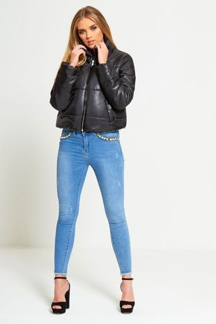 BLACK HIGH NECK CROPPED PUFFER JACKET