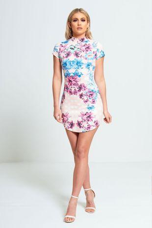 Pink Floral Faux Suede Bodycon Mini Dress