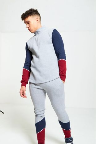 Grey Contrasting Sleeves Pull Over Tracksuit