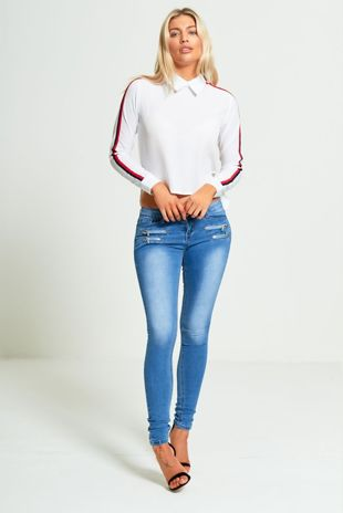 Mid Rise Double Zip Denim Skinny Jeans