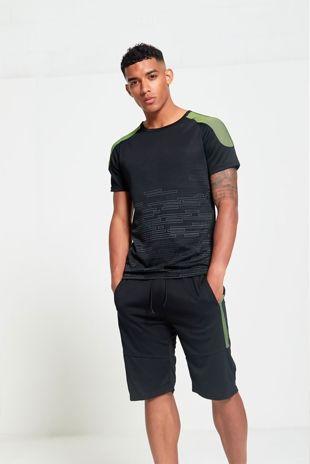 Green UV Shoulder Panel T-Shirt And Short Set