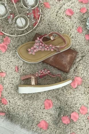 Pink Floral Diamante Wedge Soul Sandals