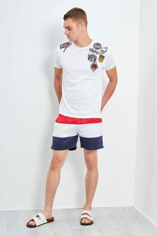 White Embroidery Patched T-Shirt