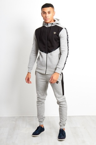 Mens Grey Contrast Chest Panel Doodle Skinny Tracksuit