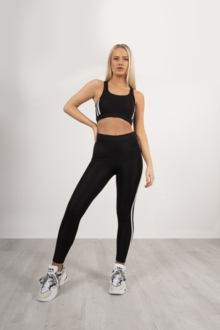 Black Stripe Top And Legging Sports Set