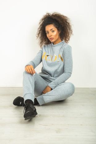 Grey Icon Printed Loungewear Set
