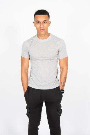 Mens Grey Basic Crew Neck T-Shirt
