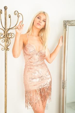 Rose Gold Party Sequinned Tassel Mini Dress