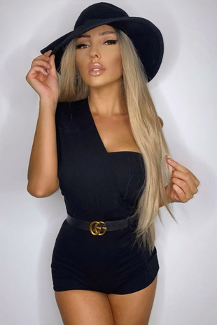 Black Drape One Shoulder Playsuit