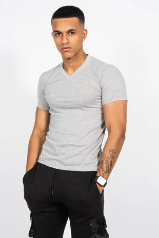 Mens Grey Classic V-Neck T-Shirt