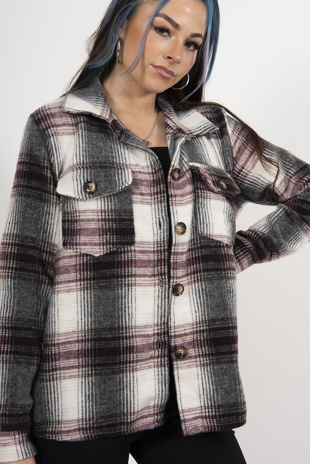 Wine Brushed Check Shacket