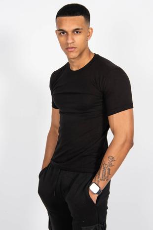 Mens Black Basic Crew Neck T-Shirt