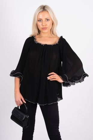 black contrast frill hem blouse
