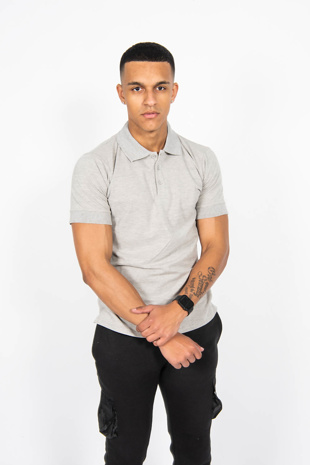 Mens Grey Half Sleeve Polo T -Shirt