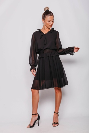 Black Tie Neck Shirred Waist Mini Dress