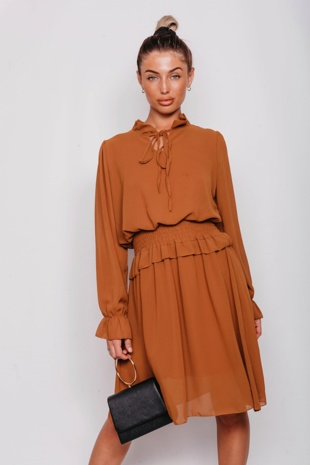 Tan Tie Neck Shirred Waist Mini Dress