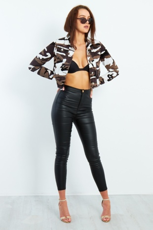 Pu Leather High Waisted Skinny Jeans