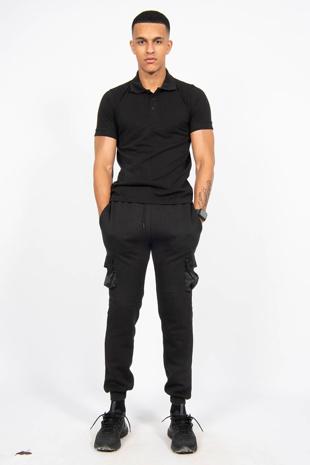 Mens Black Half Sleeve Polo T -Shirt