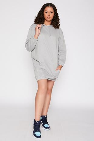 Grey Oversized Hoodie Dress
