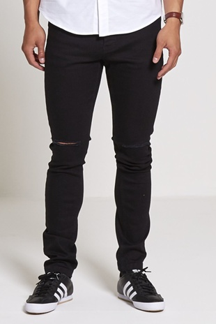 Mens Black Ripped Knee Jeans