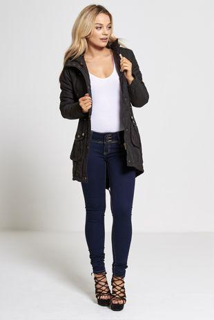Black Fur Lined Hood Brave Soul Parka Coat