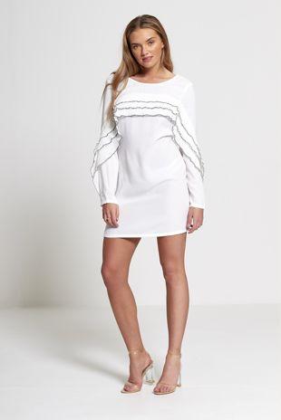 White Layered Frill Mini Dress