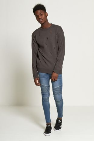 Charcoal Diamond Ripped Knit Jumper