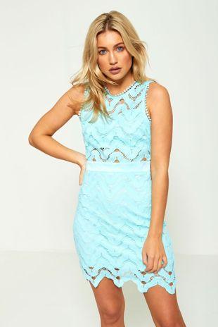 Light Blue Sleeveless Lace Shift Mini Dress