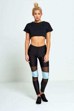 Blue Contrasting Panel Mesh Detail Activewear Leggings