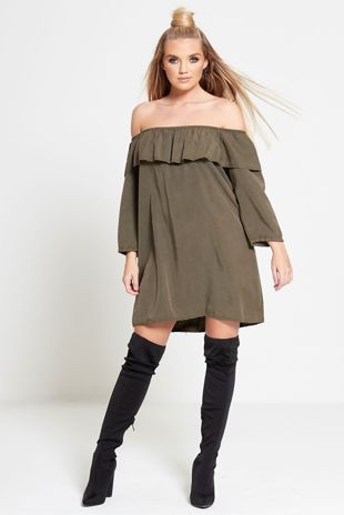 Khaki Faux Suede Frill Bardot Dress