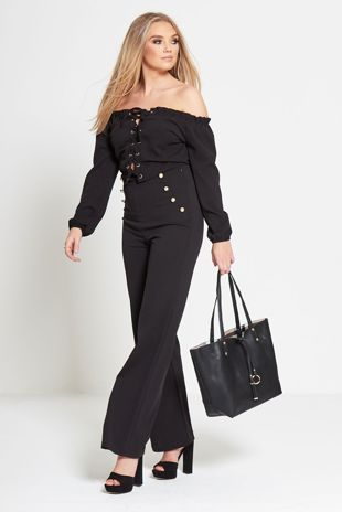Stud wide Leg Trouser