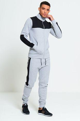 Grey Loungewear Tracksuit With Black Panel Detailing