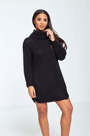 Black High Neck Knitted Jumper Dress