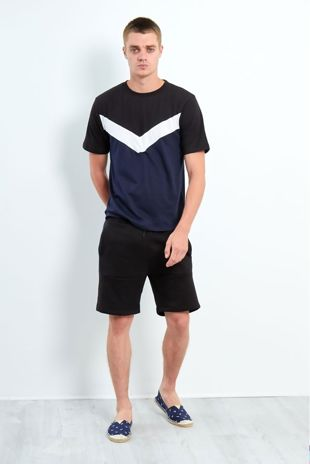 Black Contrasting Panel T-Shirt And Shorts Set