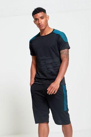 Blue UV Shoulder Panel T-Shirt And Short Set