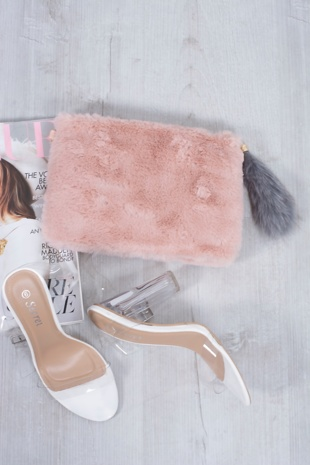 pink faux fur clutch / body bag