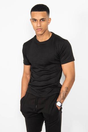 Mens Black T-Shirt And Short Set