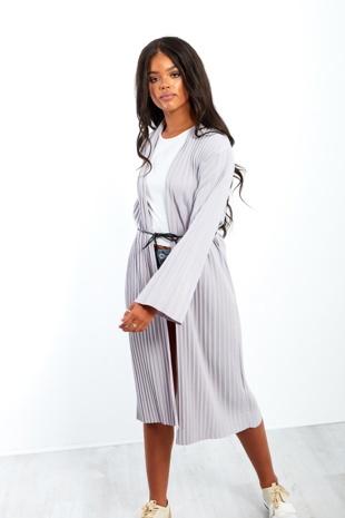 Belted Pleat Longline Cardigan