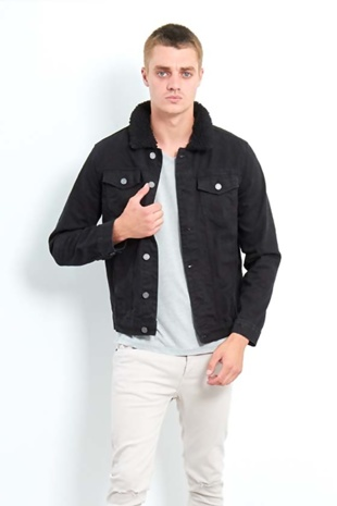 Mens Black Borg Collar Denim Jacket