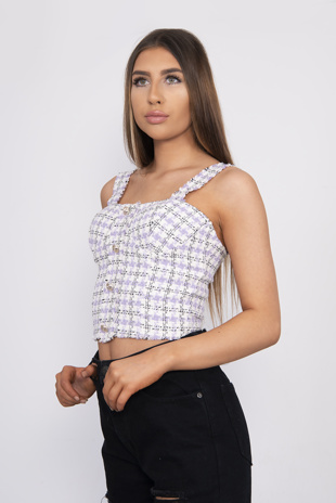 Lilac Tweed Button Detail Tank Top