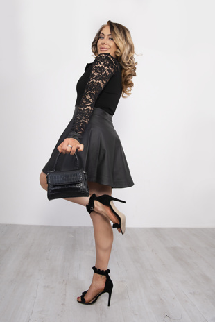 Black Lace Zipper Design PU Dress