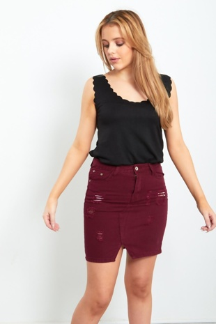 Wine Distressed Denim Skirt