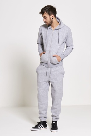 Mens Grey Fleece Jogging Pockets Plain Tracksuit