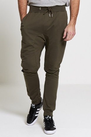 Mens Khaki Distressed Athleisure Jogging Bottoms
