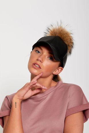 Black Real Fur Detachable Pom-Pom Baseball Cap