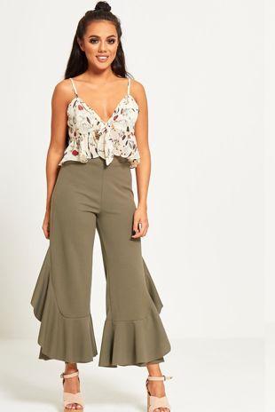 Khaki Asymmetry Drape Frill Trouser